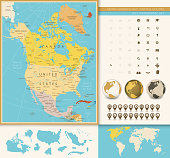 North America detailed political map with vintage colors