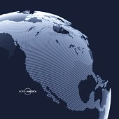 North America. Earth globe. Global business marketing concept. Dotted style. Design for education, science, presentations.