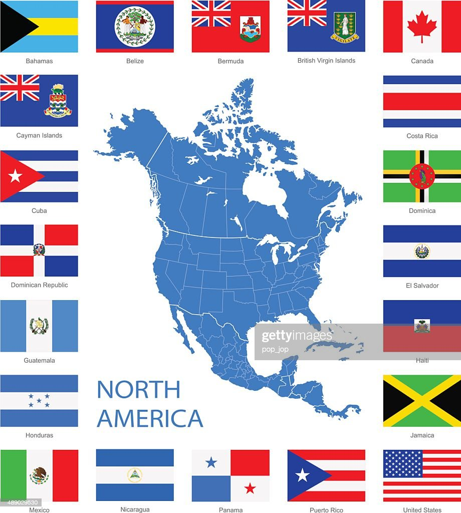 North America Flags And Map Illustration Vector Art Getty Images