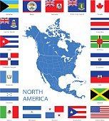 North America - Flags and Map - Illustration