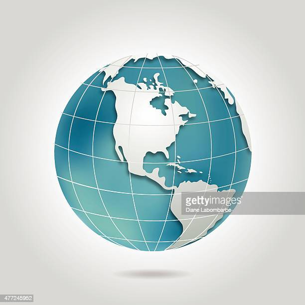 North America Globe With Shadow In Teal Blue and Grey