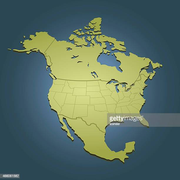 North America green map on dark background in perspective view