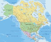 North America - Highly detailed editable political map with separated layers.