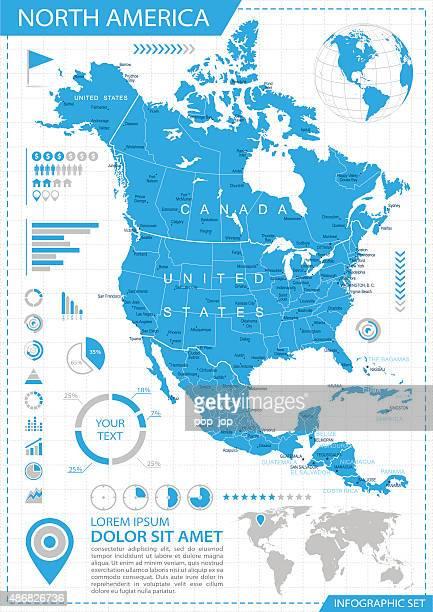 North America - infographic map - Illustration