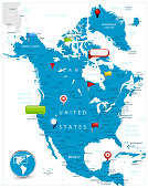 North America Map and glossy icons on map
