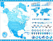 North America Map and infographic elements