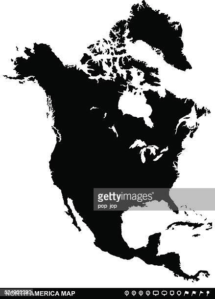 North America Map and Navigation Icons