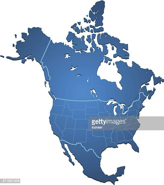 north america map blue - north america stock illustrations