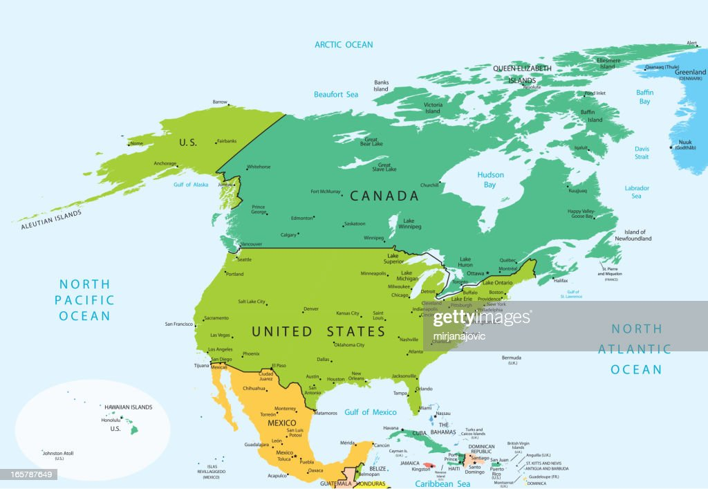 North America Map Countries Vector Art Getty Images - What countries are in north america