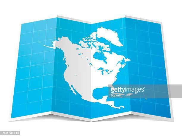 bildbanksillustrationer, clip art samt tecknat material och ikoner med north america map folded, isolated on white background - nordamerika