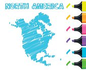 North America map hand drawn on white background, blue highlighter