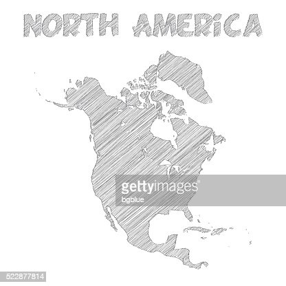 North America Map Hand Drawn On White Background Vector Art - North america map drawing