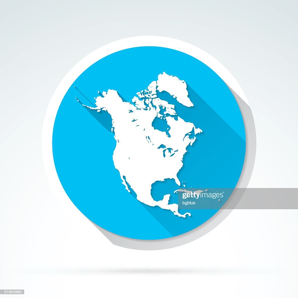 North America Map Icon Flat Design Long Shadow Vector Art Getty
