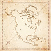 North America map in retro vintage style - old textured paper