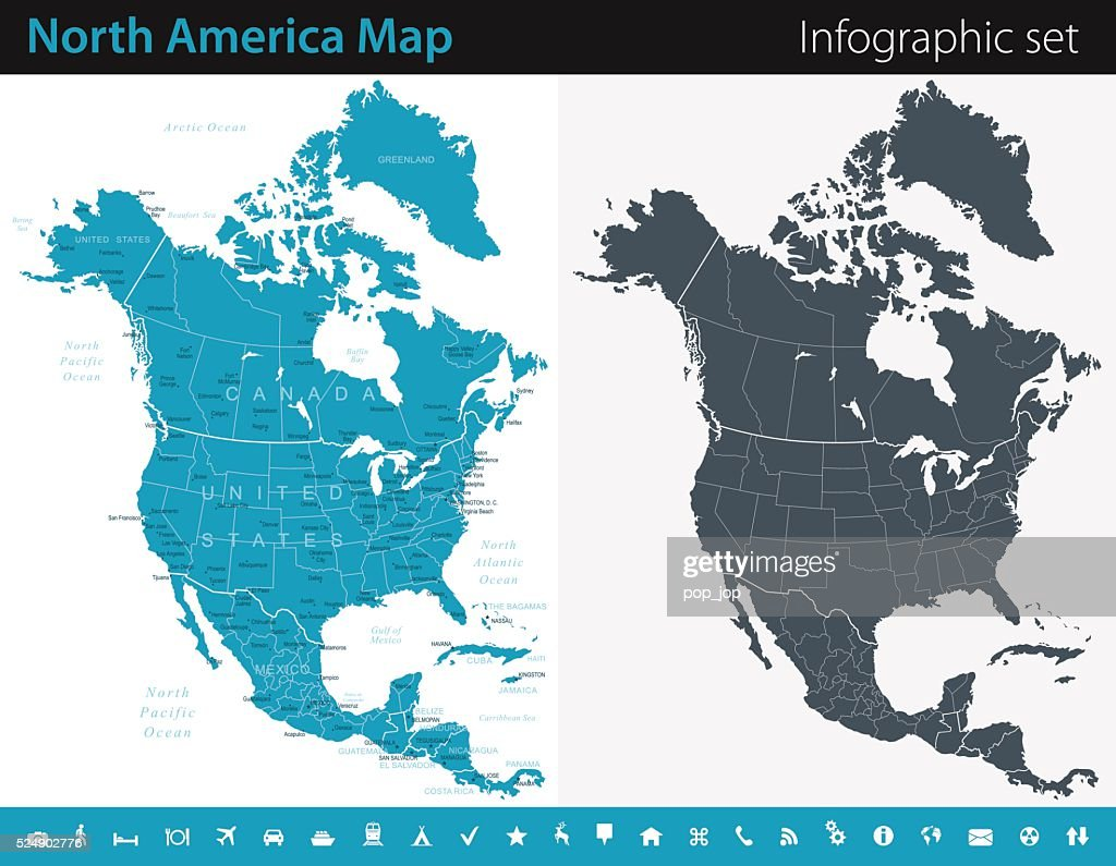 North America Map Infographic Set Vector Art Getty Images