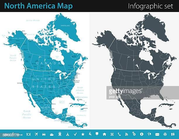 north america map - infographic set - cartography stock illustrations