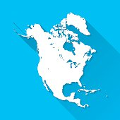 North America Map on Blue Background, Long Shadow, Flat Design