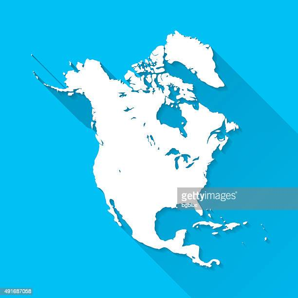 north america map on blue background, long shadow, flat design - north america stock illustrations