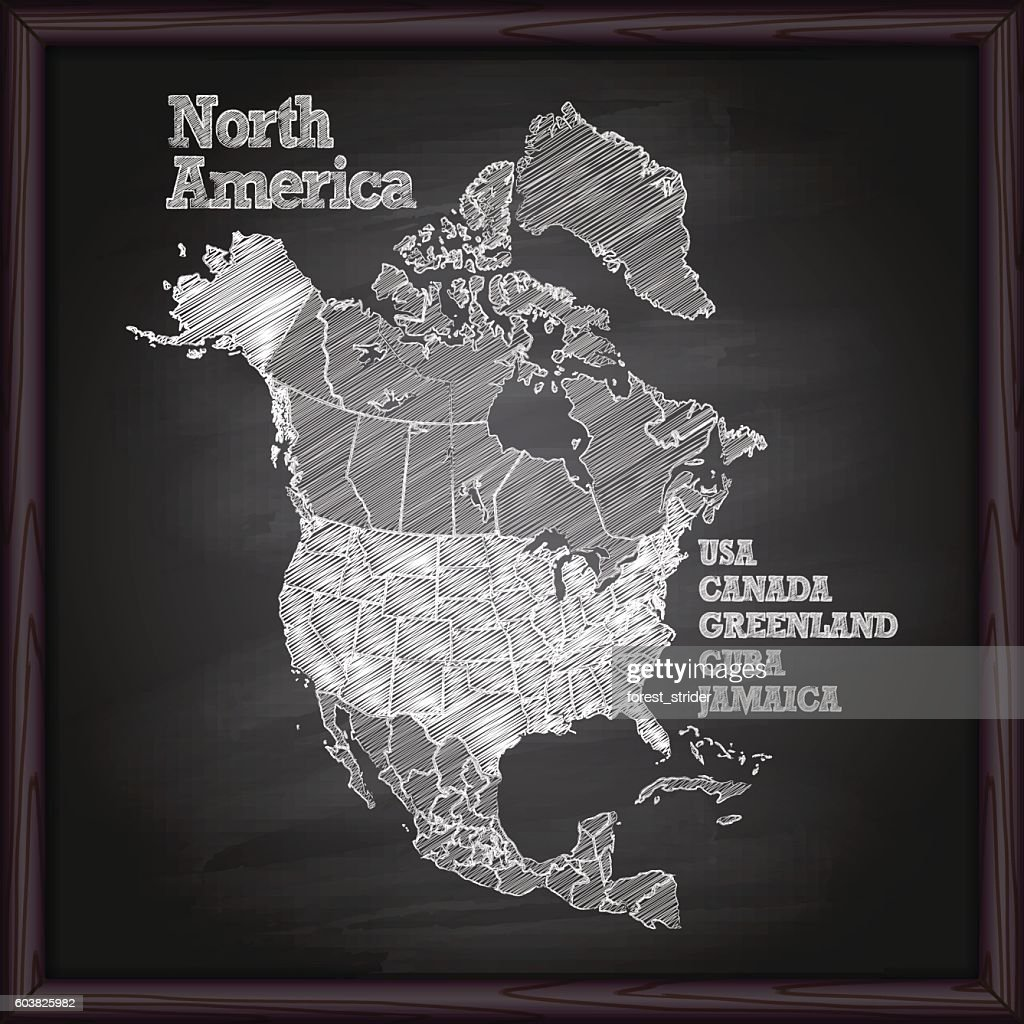 North America Map On Chalkboard Vector Art Getty Images