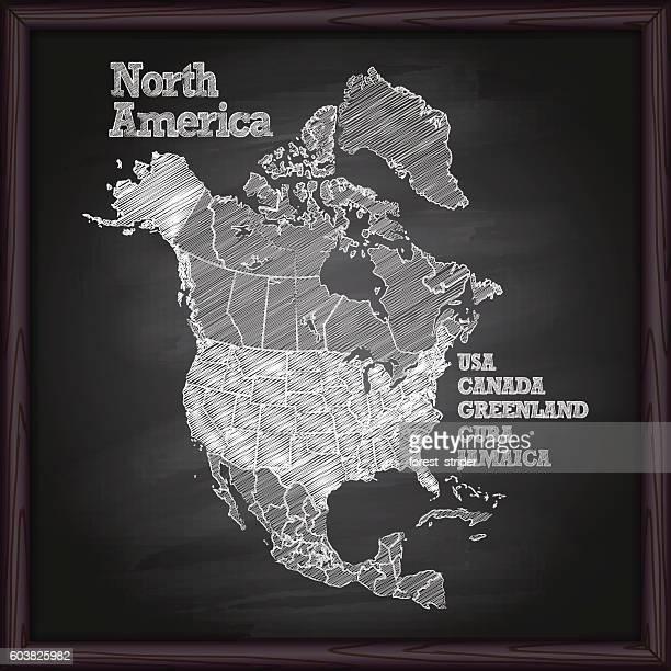 ilustrações, clipart, desenhos animados e ícones de north america map on chalkboard - américa do norte