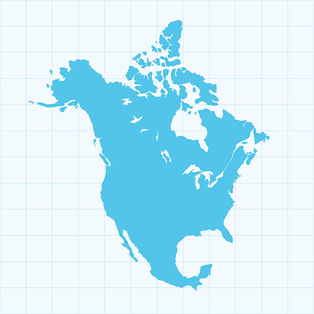 North America Map On Grid On Blue Background Wall Art