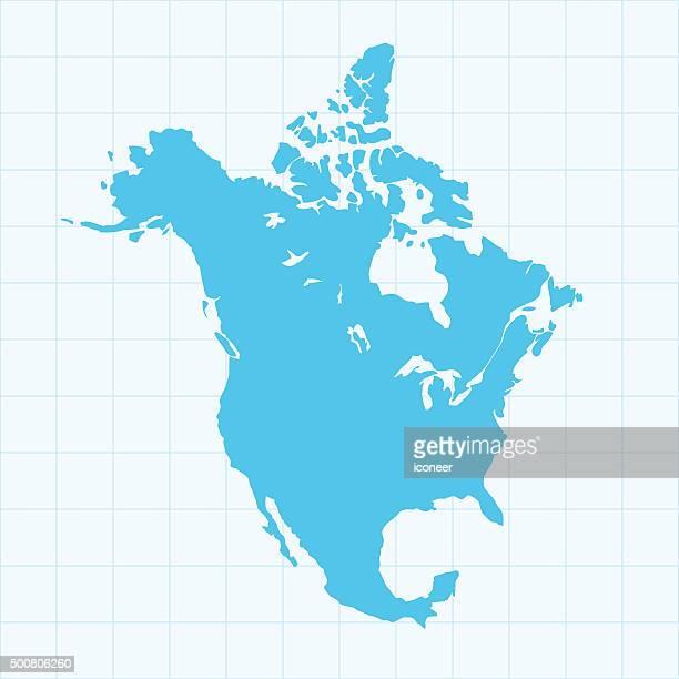 Nordamerika-Karte auf blauem Hintergrund Raster auf