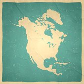 North America Map on old paper - vintage texture