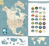 North America map. Retro Colors
