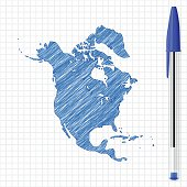 North America map sketch on grid paper, blue pen