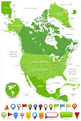 North America Map Spot Green Colors and glossy icons