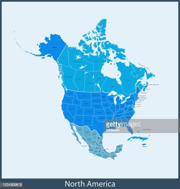illustrazioni stock, clip art, cartoni animati e icone di tendenza di mappa del nord america - canada