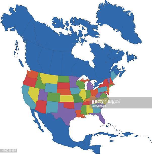 nordamerika-karte - nordamerika stock-grafiken, -clipart, -cartoons und -symbole