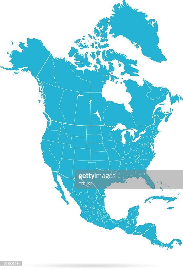North America Map : Stock Illustration
