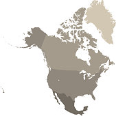 North America map vector outline with countries borders in gray background. Highly detailed accurate map of North American countries including USA, Canada, and Mexico
