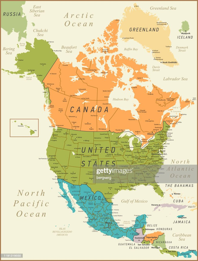 Picture of: North America Map Vintage Illustration With Canada United States And Mexico High Res Vector Graphic Getty Images