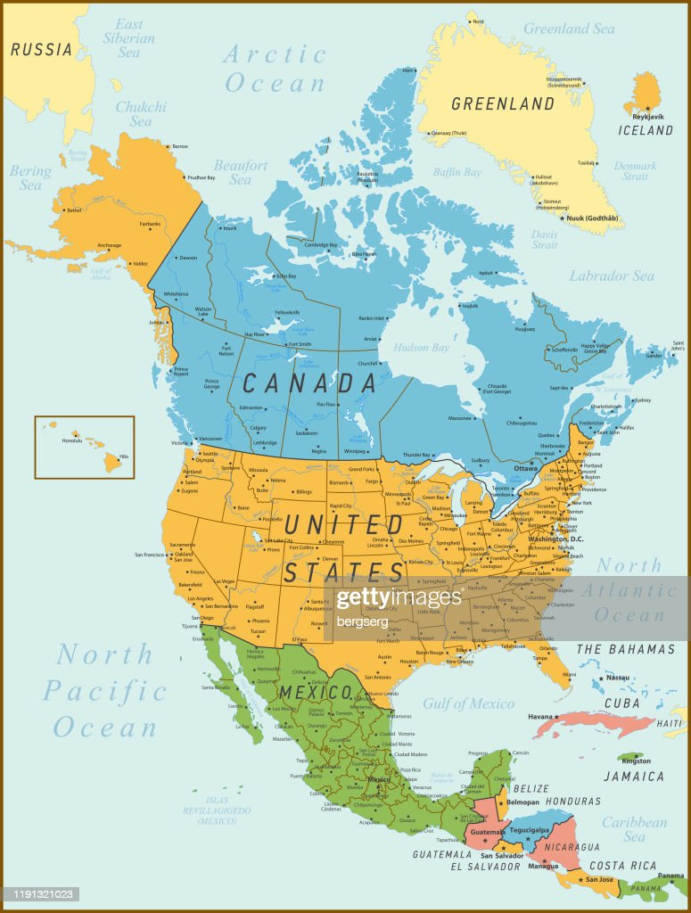 Picture of: North America Map Vintage Map With United States Canada Mexico And Rivers High Res Vector Graphic Getty Images