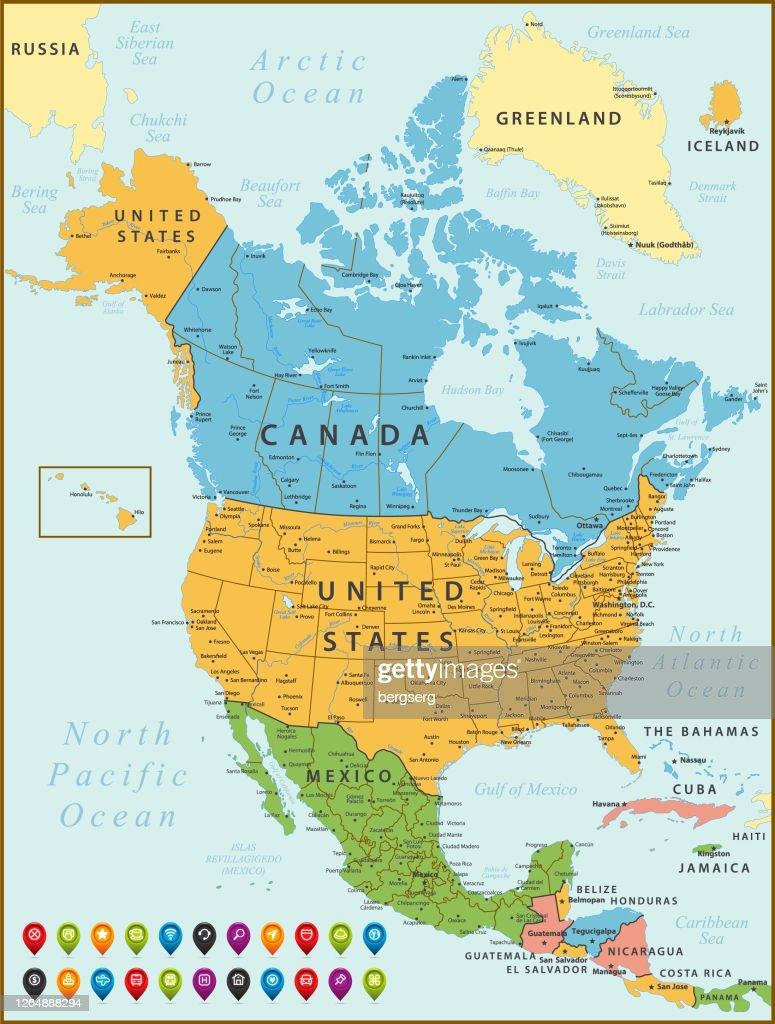 Nordamerika Karte Vintage Karte Mit Den Vereinigten Staaten Kanada Mexiko Kuba Island Jamaika Geografische Grenzen Und Flusse Stock Illustration Getty Images
