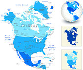 North America Map with blue globe and country outlines