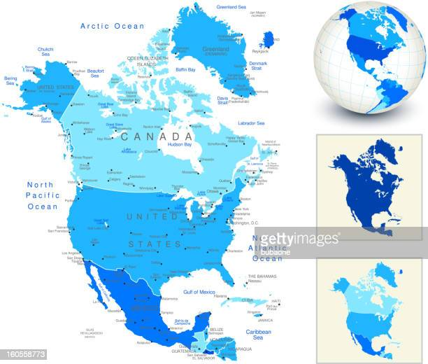 north america map with blue globe and country outlines - intricacy stock illustrations