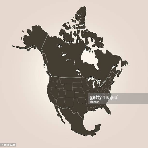 north america map with countries on brown background - national border stock illustrations, clip art, cartoons, & icons