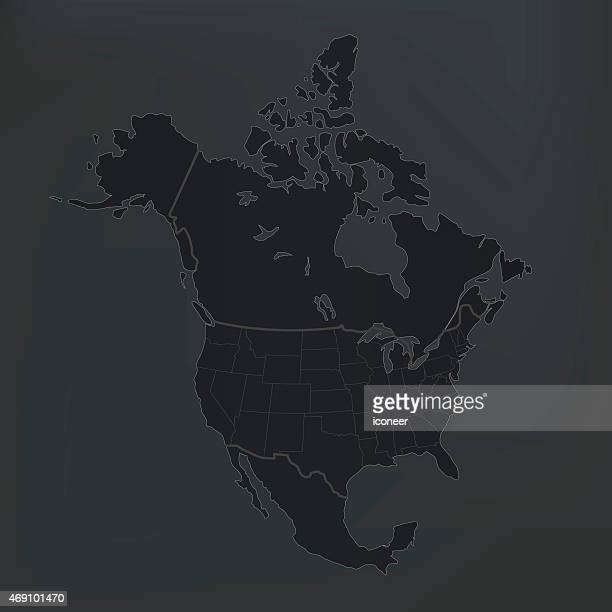 North America map with countries on dark shady background