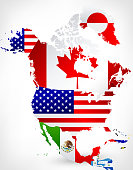 North America Map with Flags 2