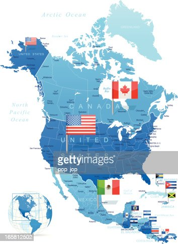 North America Map Dark With Ciry Lights On Blue Background Vector - North america map