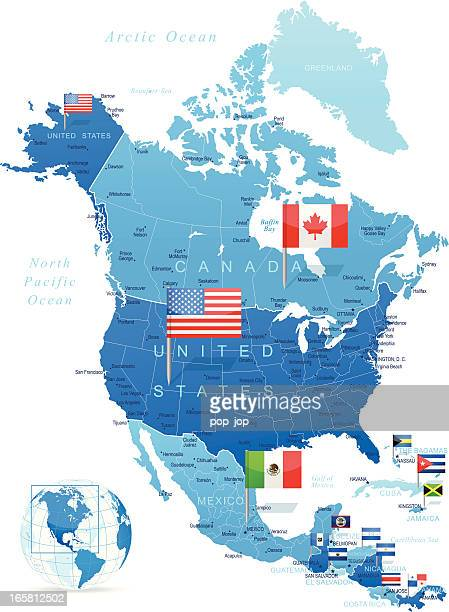 north america map with flags - central america stock illustrations, clip art, cartoons, & icons