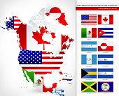 North America Map with Flags
