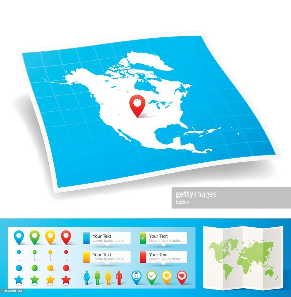 North America Map with location pins isolated on white Background