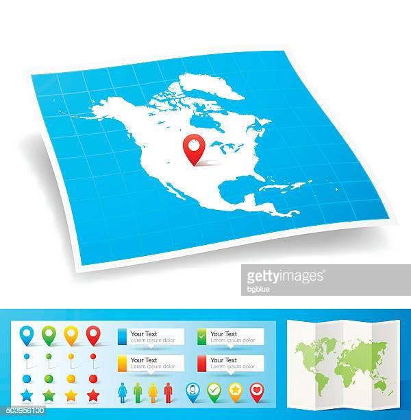Nordamerika Karte mit Lage pins, isoliert auf weißem Hintergrund