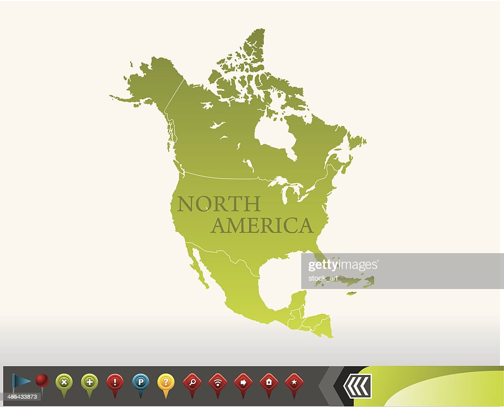 North America Map With Navigation Icons Vector Art Getty Images