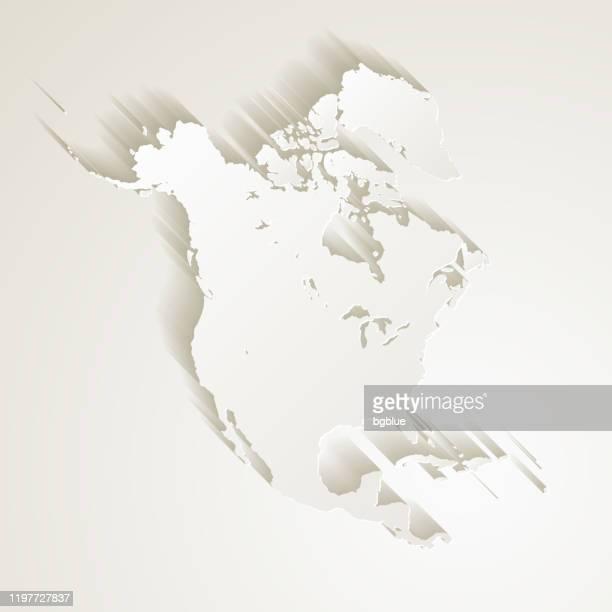 ilustraciones, imágenes clip art, dibujos animados e iconos de stock de mapa de américa del norte con efecto de corte de papel en fondo en blanco - las américas