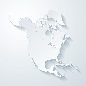 North America map with paper cut effect on blank background